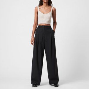 NEW All Saints Tave Wide Leg Pants Trousers In Black Size 0